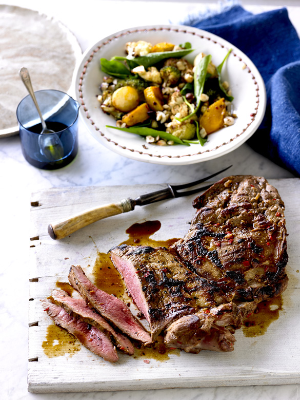Barbecued butterflied lamb with vegetable salad