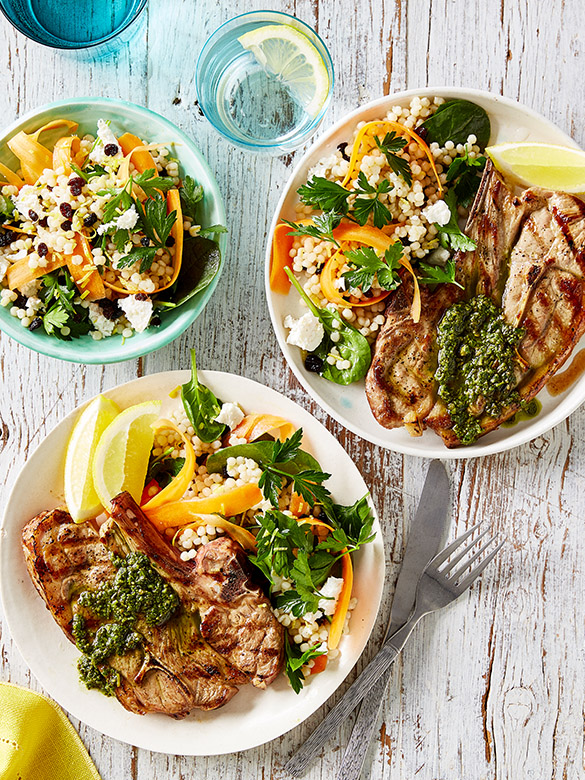 Barbecued lamb chops with pesto & cous cous salad