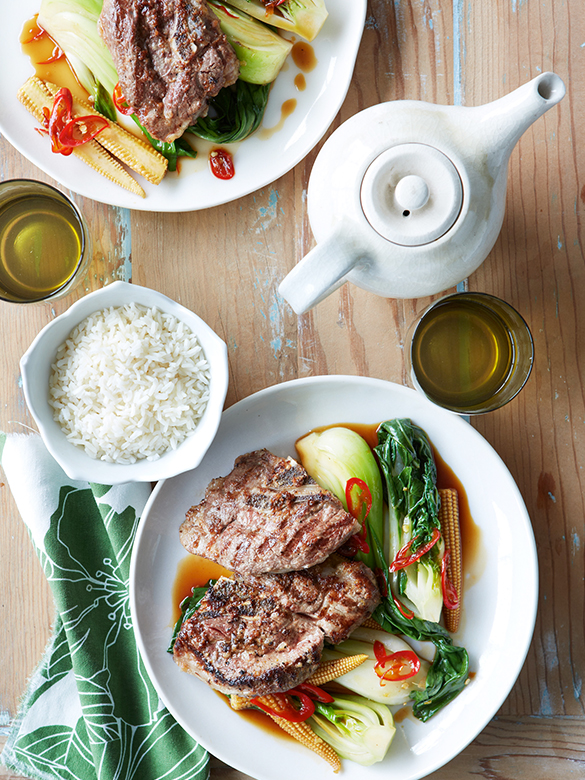 Lamb chump chops with Asian greens in oyster sauce