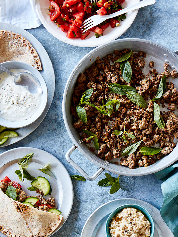 Spiced mince with tomato mint salsa