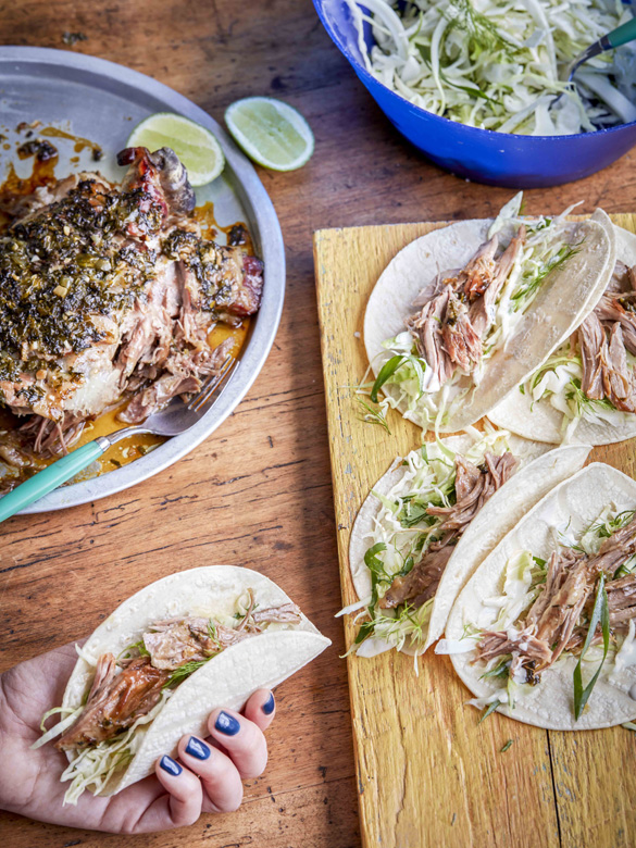 Jalapeno, lime and honey lamb shoulder tacos