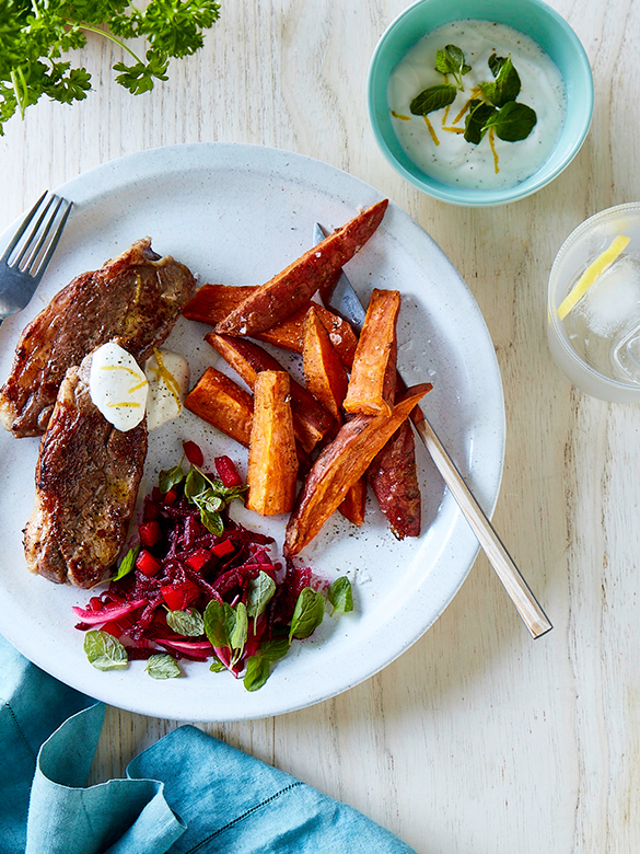 Rump steaks with beetroot relish and sweet potato