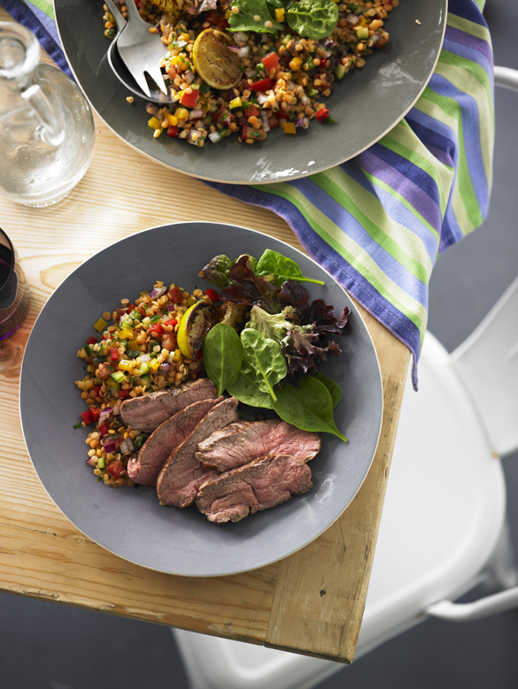 Lamb rump steaks with red lentil salad