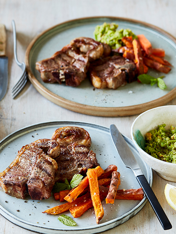 BBQ Lamb chops with pesto & kumara chips