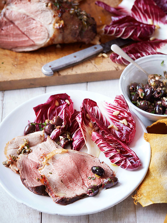 Leg of lamb with olive sauce and radicchio salad