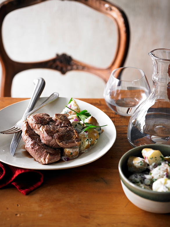 Lamb rump steaks with potato and onion salad