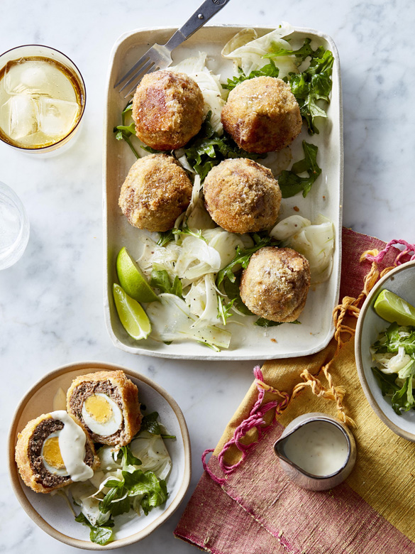 Baked lamb scotch eggs with lime aioli