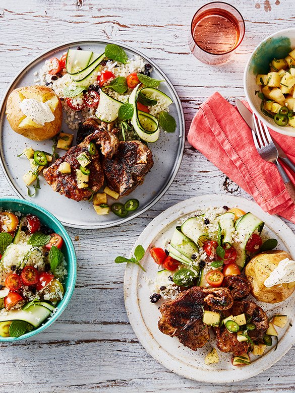 Cajun Spiced Loin Chops with Pineapple Salsa