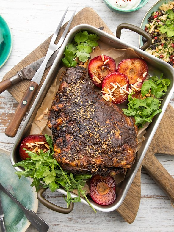 Moroccan Spiced Roasted Lamb Leg with Plums