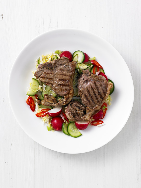 Grilled lamb chops with pickled vegetables