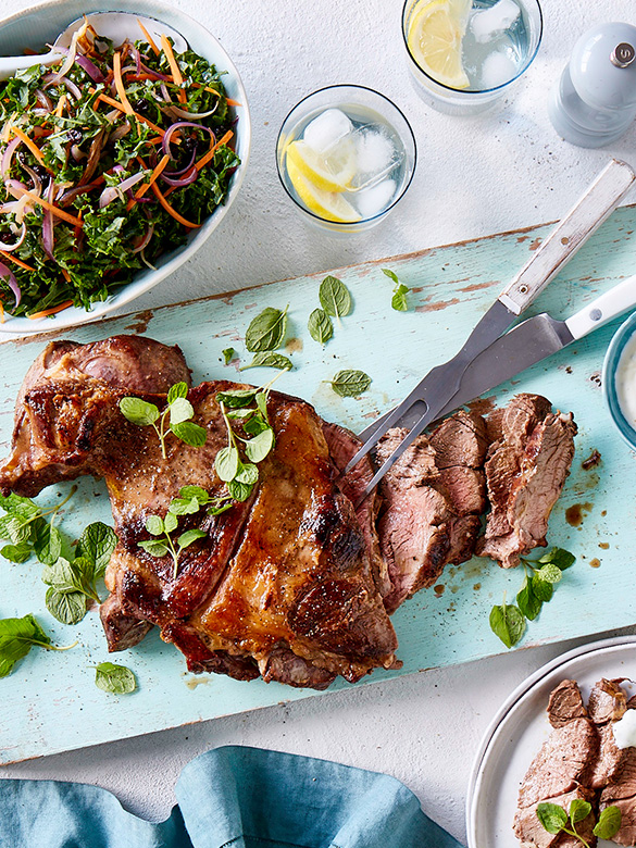 Butterflied lamb leg with kale salad