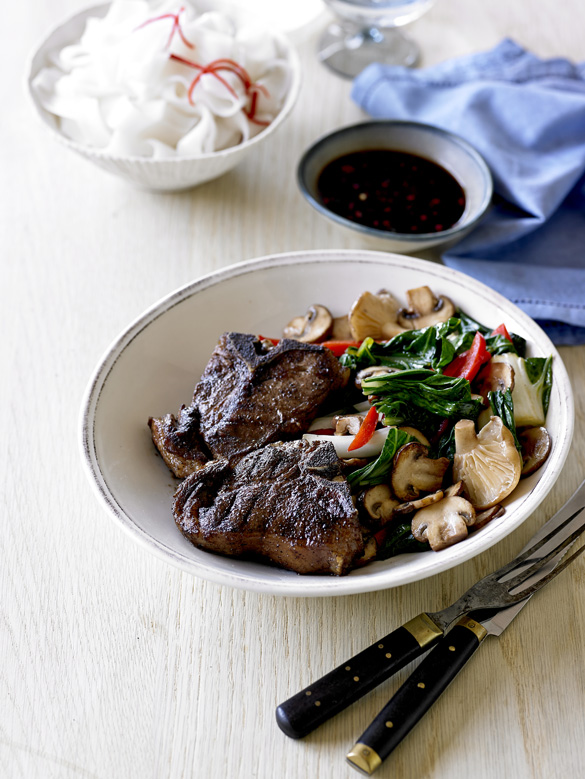 Five spice lamb chops with stir-fried vegetables