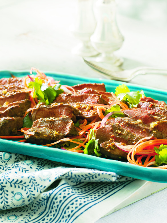 Moroccan spiced barbecued lamb steaks