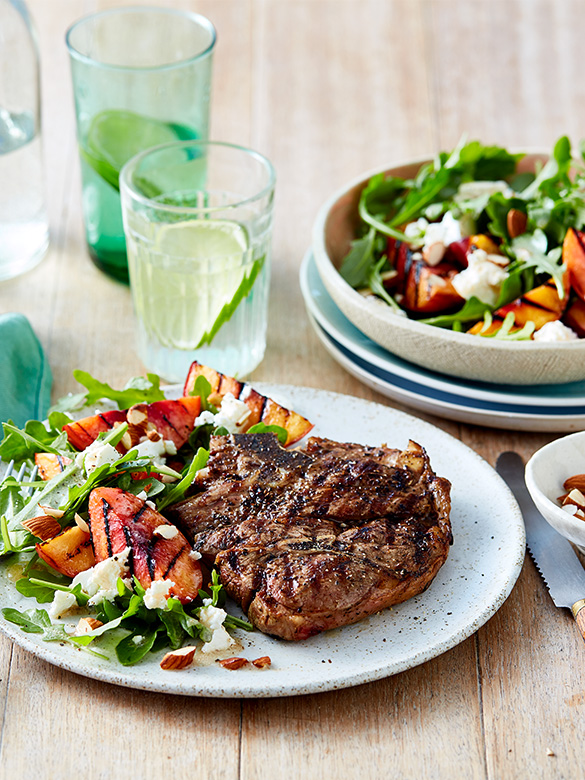 Lamb Forequarter Chops with Grilled Peach & Rocket