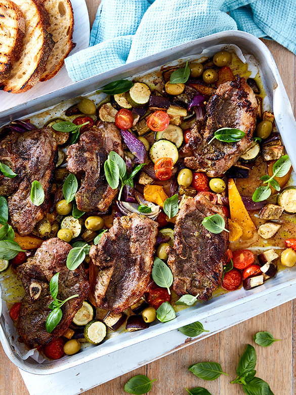 Lamb Chump Tray Bake with Roasted Vegetables